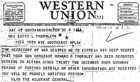 Telegram to Howard Thornley's mom, informing her that Thornley was missing in action