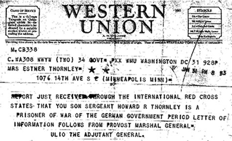 Telegram to Howard Thornley's mom, informing her that Thornley was a prisoner of the Germans