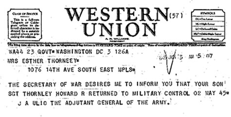 Telegram to Howard Thornley's mom, informing her that Thornley had been liberated